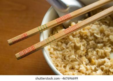 Thai Wooden chopstick on noodle cup