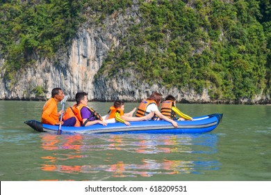 Thailand -15 january 2017 :: traveller are kayaking to see sighting in Phang-nga , Thailand