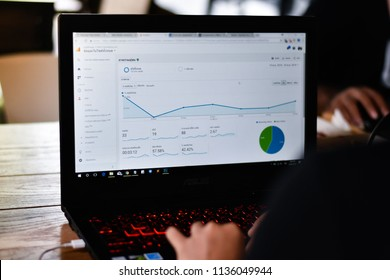 Thailand - 17 July 2018 : worker checking traffic visitor on website by google analytics report.