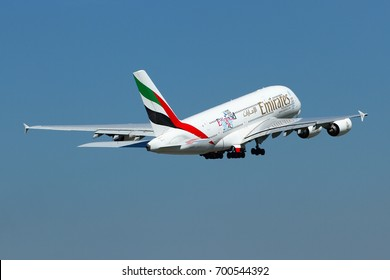 THAILAND, 19 AUG 15: Airbus A380-800 Super Jumbo  (Rugby World Cup 2015) of Emirates as seen taking off at Bangkok-Suvarnabhumi Airport to Dubai on a clear blue sky day. Aircraft registration, A6-EEE.