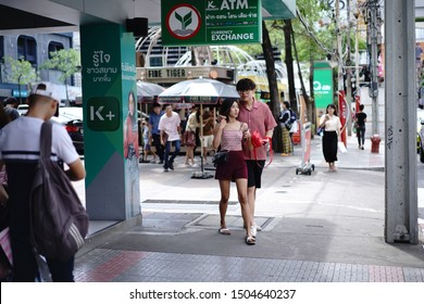 Thailand - 19 Aug 2019 : Unidentified tourists in Siam square area. Siam square is popular among teen and tourists.