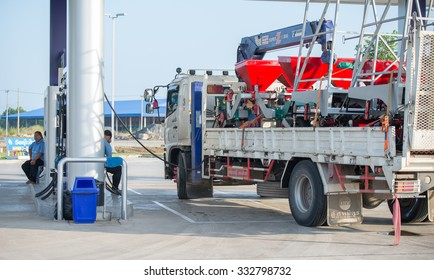 Thailand 2015 oct 28,Truck refill fuel at local gas station in Trat province, Thailand.