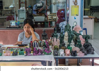 Thailand 2016 jan 20 , jade product sold on street side at Gems Market, Chanthaburi town Thailand .