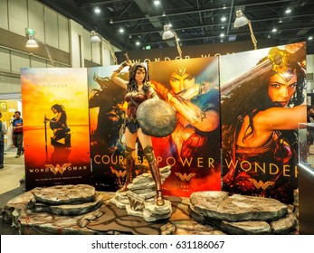 THAILAND - 23 April 2017 -  Model of Wonder Woman (from The movie Wonder Woman 2017 film) displays at Thailand Comic Con 2017 in ROYAL PARAGON HALL, Bangkok Thailand.