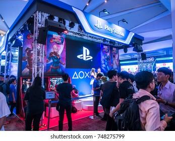 THAILAND - 4 November 2017:  Boots games by PlayStation 4. Mounted displays at Thailand game show big festival 2017 in ROYAL PARAGON HALL, Bangkok Thailand.