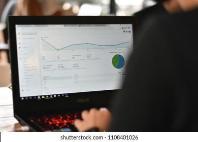Thailand - 8 June 2018 : Webmaster view a report graph from Google Analytics.