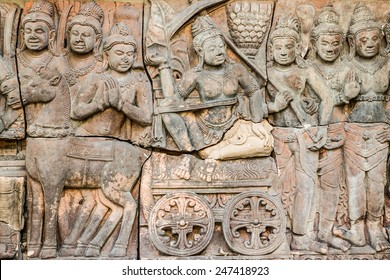 Thailand ancient clay carving