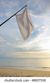 Thailand. Andaman sea. Ko Kho Khao island. Deserted sand beach and white flags
