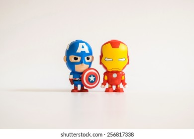 THAILAND, April 2014 : Heroes figurine on white background : Marvel + Disney Pixar figurine toy pen collection in marketing campaign from Tesco Lotus Express.