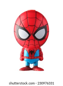 THAILAND, April 2014 : Spider-Man isolated on white background : Marvel + Disney Pixar figurine toy pen collection in marketing campaign from Tesco Lotus Express.