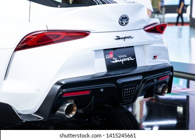Thailand - April , 2019 : close up rare view of Toyota Supra GR presented in motor show Thailand .