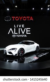 Thailand - April , 2019 : close up Toyota Supra GR sports car presented in motor show Thailand .