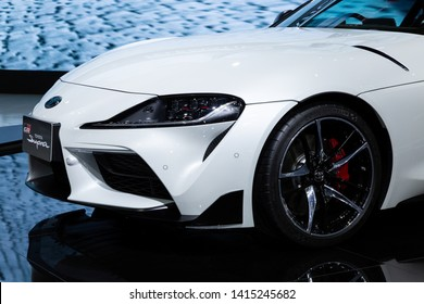 Thailand - April , 2019 : close up Toyota Supra GR presented in motor show Thailand .