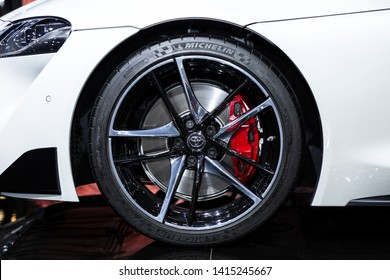 Thailand - April , 2019 : close up wheel tire of Toyota Supra GR presented in motor show Thailand .