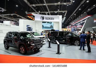 Thailand - April, 2019 : Rowen Jeep Renegade on display at Thailand International Motor Show 2018 Arina Muangthong Thani or Motor Expo in Bangkok, Thailand.