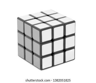 Thailand, April 27 : White rubik's cube isolated on white background.