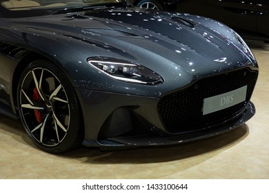 Thailand - April 3, 2019: close up front view headlight and wheel of Aston Martin DBS luxury car presented in motor show Thailand .