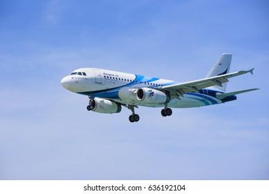 Thailand - April 8, 2017 : Airbus A320 Aircraft of Bangkok Airways landing at Phuket International Airport