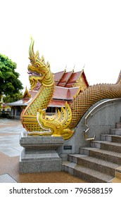 Thailand Architecture gold Dragon at Udonthani on white