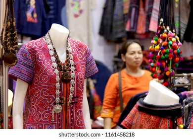 Thailand - August 2018 : Thai traditional costumes for sale in OTOP Silapacheep fair 2018 at IMPACT exhibition center,Nonthaburi. The fair aiming to improve quality of local goods and marketing.