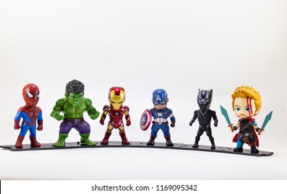 THAILAND, August 2018 :the adventure team on white background : Marvel toy collection in marketing campaign from Tesco Lotus Express.
