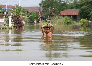 THAILAND, AYUTTHAYA - OCTOBER 30:Flood hits Bangkok areas, higher water levels expected, in Ayutthaya district people are severely affected on October 30, 2010 in Ayutthaya, Thailand