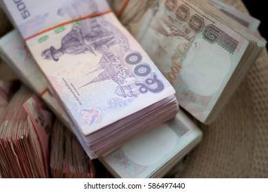 Thailand baht banknotes of 1000 up close macro view.