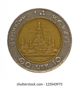Thailand baht coin isolated on white
