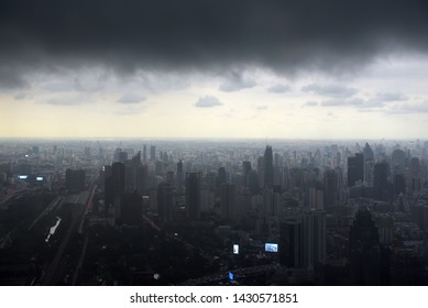 Thailand, Bangkok 24,08,2018 View from Bangkok sky  of the city and the sky before the rain