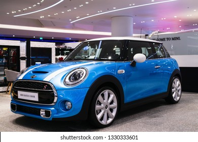 Thailand, Bangkok -28 February 2018 : Blue Mini Cooper Mini Hatch 3-Door car with white line showing in the MINI showroom at the Iconsiam Shopping Mall, Bangkok, Thailand