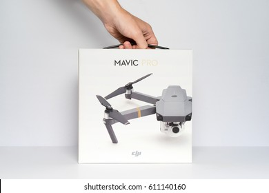 THAILAND, BANGKOK - 31 MARCH 2017: DJI MAVIC PRO Drone, Packing Box, Isolated
