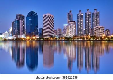 Thailand Bangkok city night reflection