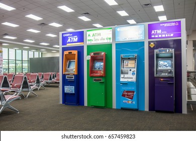 THAILAND, BANGKOK, DEC 08 2016, The line of colorful ATM in the empty lobby.