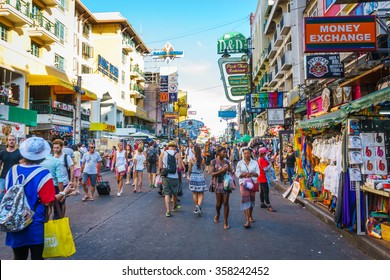 THAILAND, BANGKOK â?? DECEMBER 31: Khao San road on December 31, 2015. Khao San road is a famous place for sight-seeing and enjoys eating in the night of Bangkok.