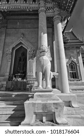 Thailand, Bangkok, Dusit District, Benjamabopit Temple (Wat Benjamabopit), one of the two marble lions at the entrance of the temple