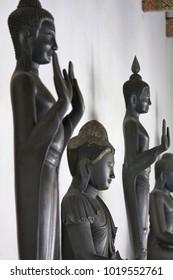 Thailand, Bangkok, Dusit District, Benjamabopit Temple (Wat Benjamabopit), old buddha statues