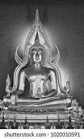 Thailand, Bangkok, Dusit District, Benjamabopit Temple (Wat Benjamabopit), golden Buddha (Pra Chinarat Buddha)
