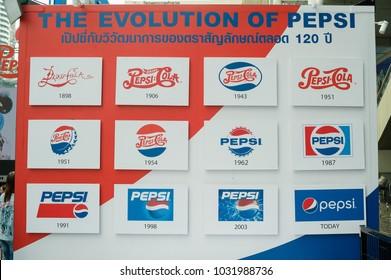 THAILAND, BANGKOK - February 23 2018, pepsi anniversary 120 years: pepsi generations, logo of pepsi