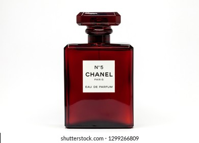 THAILAND , BANGKOK, JANUARY 30, 2019: Chanel Number 5 Perfume in red glass bottle on white background .