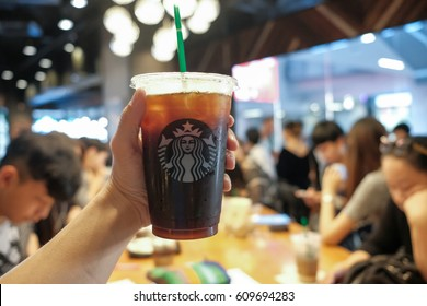 THAILAND, BANGKOK - MARCH 26 2017: Iced Americano in Starbucks Coffee Shop. At Siam Square One Shopping Mall.