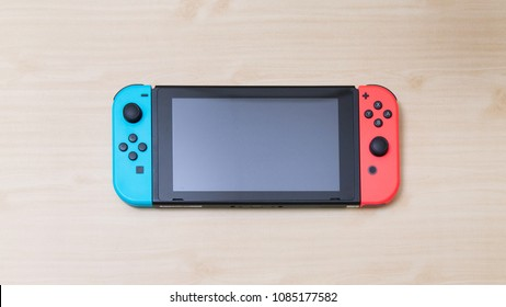 Thailand , Bangkok - MAY 7, 2018 A Nintendo Switch game console on table.