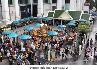 Thailand, Bangkok - November 2018: Tourist visiting Erawan Shrine to pray or pay they respect
