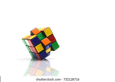 thailand, bangkok. October 11, 2017. Rubik's cube on white background. Rubik's Cube invented by a Hungarian architect Erno Rubik in 1974.