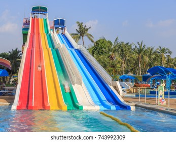 Thailand, Bangkok October 28,2017 : Unidentified people enjoy at  Siam Park. Siam Park, is the most spectacular theme park with water attractions in Bangkok, Thailand.