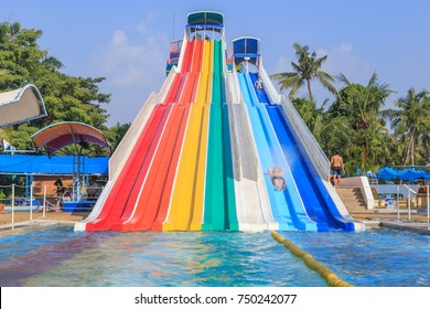 Thailand, Bangkok October 28,2017 : Unidentified people enjoy at  tower of power water attraction in Siam Park. Siam Park, Bangkok, Thailand.