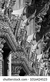 Thailand, Bangkok, roof ornaments of a small temple close to the Indrawiharn temple (Wat Indrawiharn), 19th century