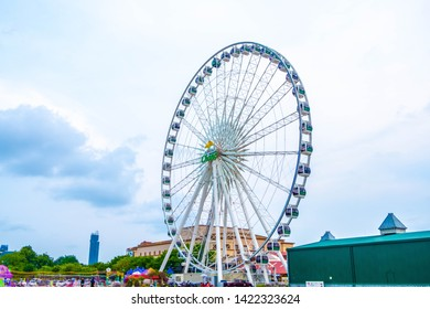 Thailand. Bangkok, taken on June 12, 2019, the Ferris wheel in the blue-purple sky at Asiatique The Riverfront