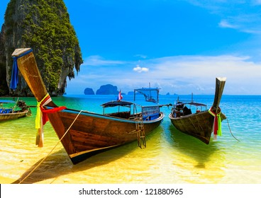 Thailand beach and island. Asia resort landscape of sea, adventure boat and ocean coast