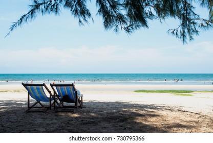 Thailand beach travle background concept - Relaxation on the beach, at Suan Son Pradipat beach, Huahin Thailand