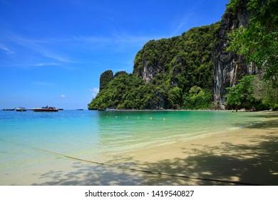 Thailand beautiful sand beach and blue sky